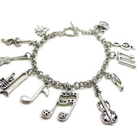 Music Charm Bracelet, Music Bracelet, Musical Notes Bracelet, Music Teacher Gift, Band Bracelet, Band Charms, Music Instrament Bracelet