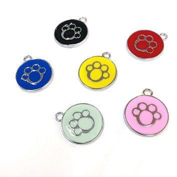 Dog Cat Name Phone Number Engraved Collar Enamel Paw Round Pendant Pet ID Tag