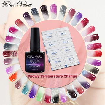 Blue Velvet 10ml Snowy Thermal Temperature Color Change Nail Gel Manicure Long Lasting UV Gel Polish Nail Art
