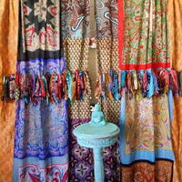 Boho Curtains Hippie Drapes panels Hippy Boho Gypsy Fringe paisley vtg scarf scarves Wall Decor bohemian Bedroom Backdrop photo wedding