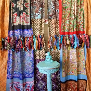 Boho Curtains Hippie Drapes Panels Hippy Gypsy Fringe Paisley Vtg Scarf Scarves Wall Decor Bohemian