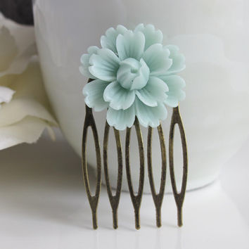 Large Dusty Blue Rose Flower Hair Comb. Vintage Inspired Antique Bronze Hair Comb. Bridal Wedding Bridesmaid Gift. Floral Hair Accessory