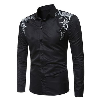 2017 Fashion Plus Size S-3XL Men Clothes Slim Fitness Muscle Long Sleeve Shirt Cotton Solid Casual Male Formal Shirt