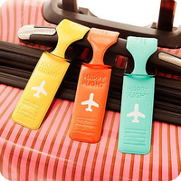 Quality Luggage Tag Holder Striped Name Address ID Suitcase Bag Labels EW