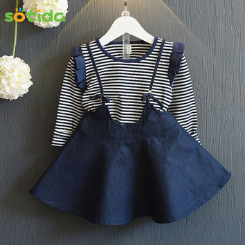 Two-piece Girls Dress 2016 Autumn Princess Dress Long-sleeve Striped T-shirt+Sling Denim Dress 2pcs for Baby Dresses
