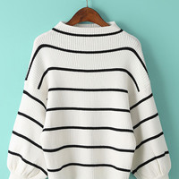 Striped Puff Sleeve Stand Collar Loose Pullovers Knit Sweater in Black or White