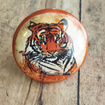 Handmade Tiger Birch Knobs Drawer Pulls, Wild Animal Cabinet Pull Handles, Dresser Knobs, Zoo, Safari, Made To Order