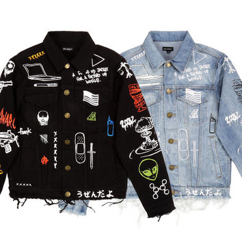 "15FW ""C2H4 x HIYASET"" GRAFFITI DENIM JACKET"