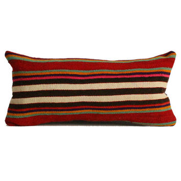 Lumbar Pillow 12x24 lumbar pillows decorative throw pillows cushion boho Turkish Kilim Lumbar Pillow,Anatolian Kilim Pillow Cover L43