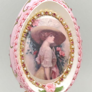 Pink Victorian Lady in Wide Brimmed Hat Retro Framed Silk Print Home Decor Egg Ornament Faberge Style Decorated Egg Art