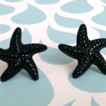 Black Starfish Earrings 10% of this sale will go to Sea Shepherd Conservation Society