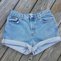 High Waisted Denim Shorts - Vintage High Waist Jean Shorts - Calvin Klein - SZ US 10
