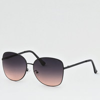 Square Metal Sunglasses, Black