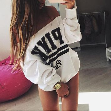 New Design White Women's Tracksuits Strapless Hoodies Sweatshirt Pullover Tops Women Sudaderas Mujer
