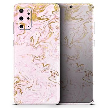 Rose Pink Marble & Digital Gold Frosted Foil V13 - Skin-Kit for the Samsung Galaxy S-Series S20, S20 Plus, S20 Ultra , S10 & others (All Galaxy Devices Available)