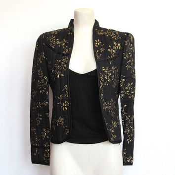 Vintage 1980s Rocker / Glam Black Quilted Blazer / Cropped Jacket w/ Metallic Gold Painted Floral Print