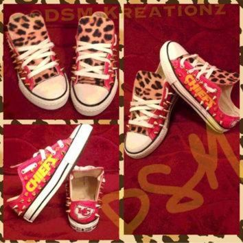 DCKL9 Custom Kansas City Chief Converse All Star Chuck Taylors, Leopard Edition