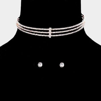 """14"""" rose gold crystal pave 3 row cuff choker necklace .30"""" earrings bridal prom"""