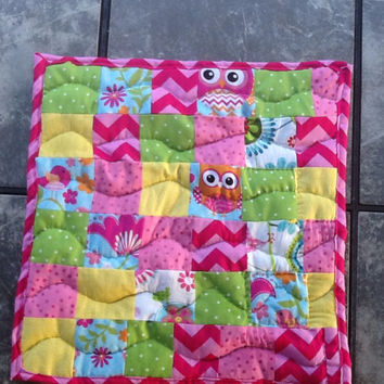 Doll Quilt - owl pattern - doll bedding - pink chevron - hand quilted - yellow - green - blue - 18 inch doll - baby doll - gift for girls -