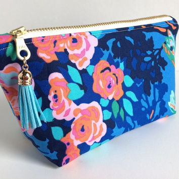 Mini Cosmetic Bag, Small Makeup Bag, Floral Makeup Bag, Blue Cosmetic Bag, Small Zipper Pouch