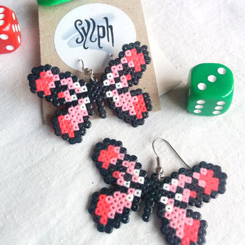 Baby pink pixelated Flutterby earrings made of Hama Mini Perler Beads in 8bit retro gamer style, for those butterfly lovers!