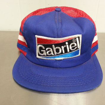80's Gabriel Red White and Blue Snapback Mesh Trucker Hat Made in USA Patch Hat Hipster Stlye Dad Hat