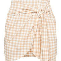 Nude Gingham Tie Front Mini Skirt