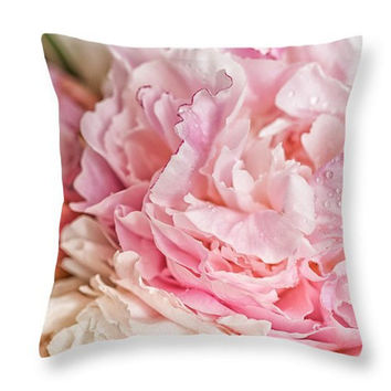 Pink Peonies Pillow Decorative Seat Cushion Floral Pillow Cover PhotoArt Peonies Outdoor Pillow Botanical Pillow Cover Peony Throw Pillow