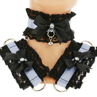 Kitten play collar and cuffs black blue, lolita, ddlg, bdsm collar, kittenplay, pastel gothic, goth kawaii, Pet play, puppy Princess C3