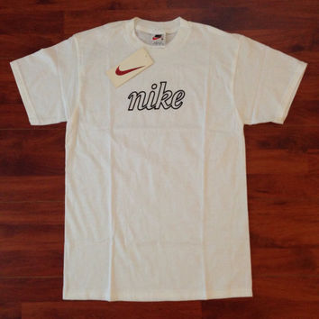 90's Nike T-Shirt - Dead Stock - White - Medium - Made in USA