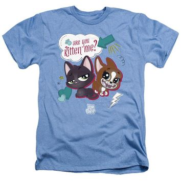 Littlest Pet Shop Heather T-Shirt Are You Kitten Me Light Blue Tee