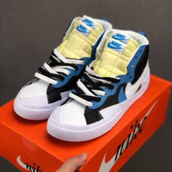 HCXX 19July 615 Nike Blazer Mid x Sacai BV0072 Causal Skateboard Shoes Black blue White