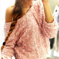 Floral Chiffon Pull-Over Blouse - Pink