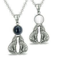 Love Couple Howling Wolfs Moon Eternity Powers Simulated Onyx White Cats Eye Pendant Necklaces