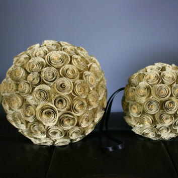 Kissing Ball with Upcycled Book Page Paper Flowers and Ivory Ribbon Handle, Bouquet Ball, Pomander, Flower Ball, Large