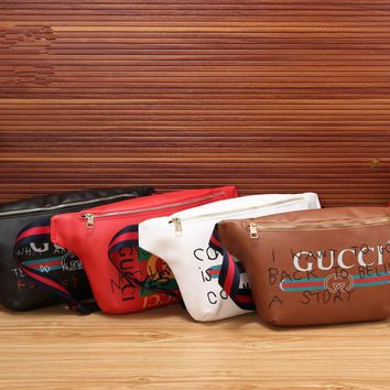 """Gucci"" Women Chest Bag Fashion Casual Graffiti Letter Pattern Single Shoulder Messenger Bag Big Waist Bag"