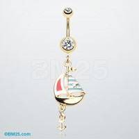 Golden Sail Boat Anchor Dangle Belly Button Ring