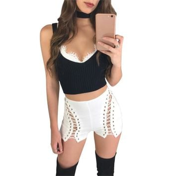 Summer Women Shorts Lace Up Pants Sexy Hollow Out Zipper Back Bodycon Short Pants Club Wear Punk Rock Black White Pants