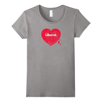 Bleeding Heart Liberal - Distressed Tee Shirt