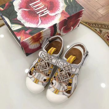 Gucci Women's Leather And Mesh Sandal With Crystals Style 2 - Best Online Sale