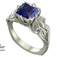 Flower Engagement Ring,Unique Engagement Ring,Blue Sapphire Engagement Ring By Vidar Botique,Floral Engagement Ring,Vintage Ring,Leaves Ring