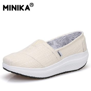 Minika Women Casual Slimming Wedge Swing Shoes Girls Fitness Breathable Height Increasing Shoes Fabric Lightweight Walking Shoes