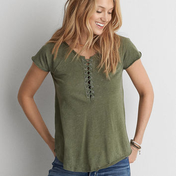 AEO Lace-Up Raglan T-Shirt , Olive