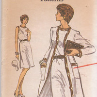1970s vintage pattern for sleeveless sheath dress with full length unlined coat misses size 8 Vogue 8817 UNCUT