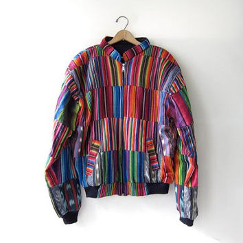 Vintage Colorful Guatemalan Jacket Patchwork Tribal Coat. Ethnic Jacket.