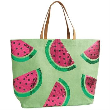 Lime Green Watermelon Beach Bag | Monogrammed Large Utility Tote | Beach Bag | Personalized Beach Tote | Embroidered Beach Bag
