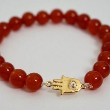 Red Agate Bead Bracelet 18kt Gold Plated Hamsa Hand