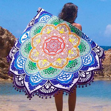 Mandala Indian Round Beach Towel / Mat Shawl Yoga Mat Summer Letter Sarong Cloak