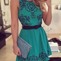 Green Floral Print Sleeveless Mini Dress with Belt