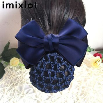 IMIXLOT Bow Hair Clip With Net Pocket Hairpins Accessories For Female Office Women's Tulle String Headwear Hair Rope Band